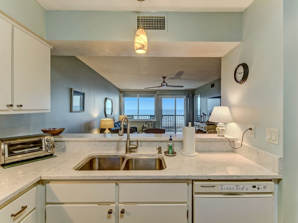 Looking from kitchen - with ocean view in background