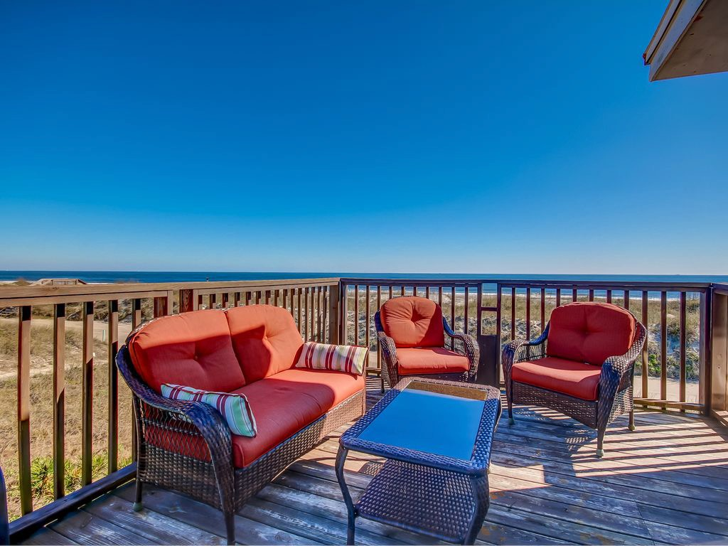 Deck with view of sea oats, sand dunes and the Atlantic Ocea