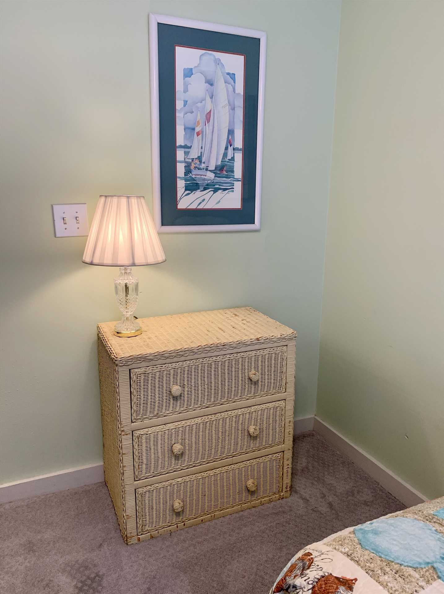 Chest in twin bedroom