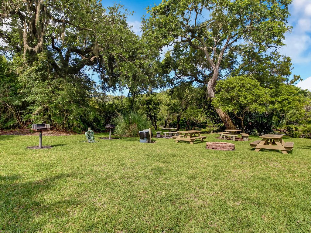 Picnic area, BBQ grills, and fire pit